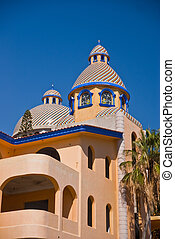 Colorful tiled dome Mexican building - Tile domed building...