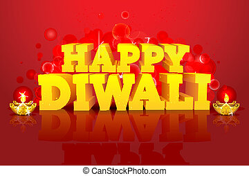 Diwali Night - illustration of diwali wish with diya on...