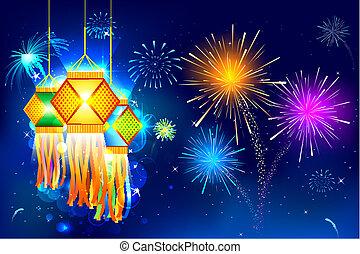 Diwali, 掛かること, ランタン