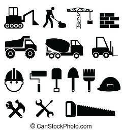 Construction icon set - Construction materials and tools...