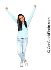 Happy Casual Girl with Victory Expression Isolated on White