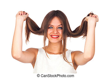 Portrait of a Cute Woman Touching Her Hair
