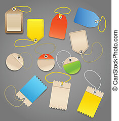 Collection of shopping tags with ro