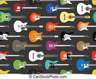 color acoustic and electric guitars - Seamless background of...