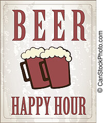 Happy hour - poster happy hour with two beers vector...