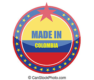 Made in Colombia stamp illustration