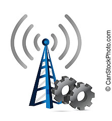 industrial gears over a wifi tower illustration design