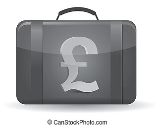 Pound currency symbol suitcase