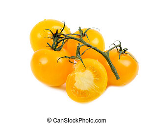 Yellow tomato isolated on a white background