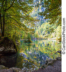 Lakeside autumn - Autumn at Blausee, Switzerland