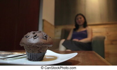 Young asian woman cake and diet