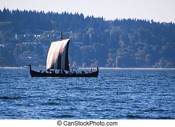 modern viking ship gliding on english bay
