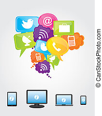 Communications and cloud computing icons over white...
