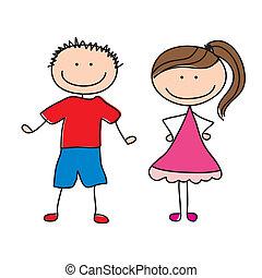 pair of children over white background vector illustration