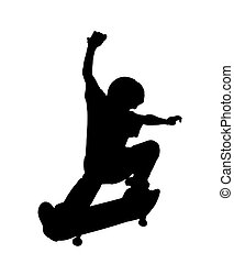 Skateboarding Kid up in the Air - Silhouette - Close up to a...