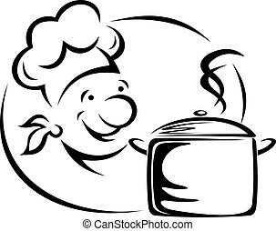 Chef with saucepan - Smiling chef with saucepan for...