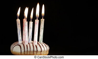 Six or seven years birthday. - Holiday candles. Six or seven...