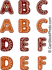 Gingerbread alphabet from A to F - Gingerbread alphabet...