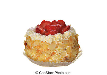 tasty cakes with nuts and strawberries isolated