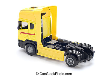Yellow toy truck - object on white toy yellow truck