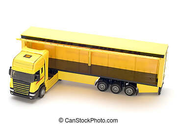 Yellow truck - object on white toy yellow truck