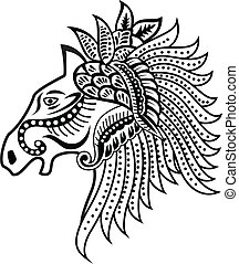 Horse head ornament - vector illustration of Horse head...