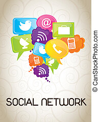 Social Network - Icons of social network over white...