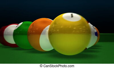 Billiard Pool Break - Opening of a pool game, made in 3D