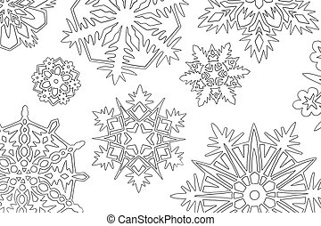 snowflakes - a lot of paper white cutout snowflakes on...