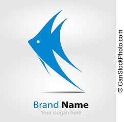 Blue fish brand logologotype - Originally designed blue fish...
