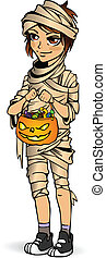 Halloween little boy mummy with candy Boy in suit