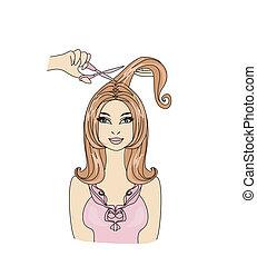 hairdresser making haircut at beauty salon