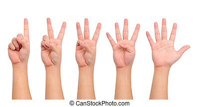 Compilation of hands - Compilation of counting hand sign...