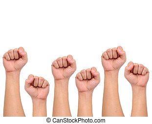 Compilation of strength hand signs isolated on white with...