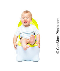 The boy sits on a chamber pot - The boy on a chamber-pot