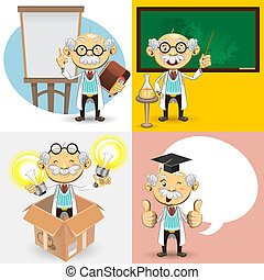Professor Characters - An Illustration Of Genius Bald...