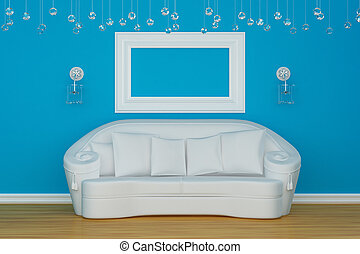 Sofa with sconces and empty frame