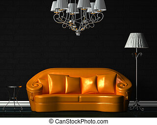 Orange couch, table, chandelier and standard lamp in black...