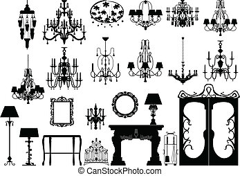 furniture and lighting silhouettes - Collection of editable...