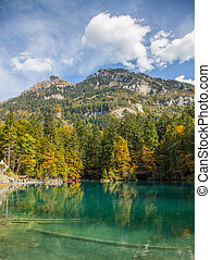 Switzerland Lakeside autumn - Autumn at Blausee, Switzerland