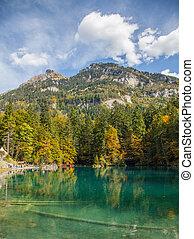 Switzerland Lakeside autumn - Autumn at Blausee, Switzerland