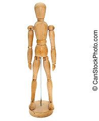 Wooden Artist dummy model against a white background