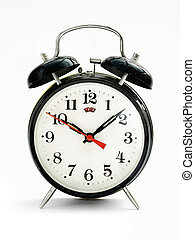 Vintage dusty alarm clock against a white background