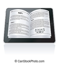 E-book Concept - Open electronic book on Tablet Computer,...