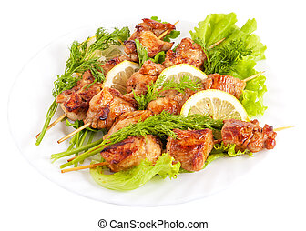 Chicken Barbecue - Barbecue Chicken on Skewers with Lemon...