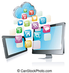 Cloud Computing Concept - Cloud with Tablet PC, Full HD...