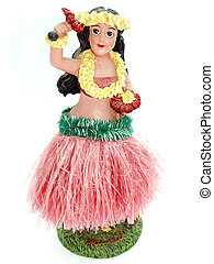 Colorful Hawaiian doll against a white background