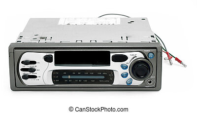 Old car stereo with bare wires exposed against a white background