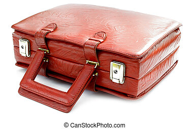 Vintage red leather bag against a white background