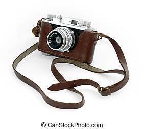 Old vintage camera in a leather case against a white...